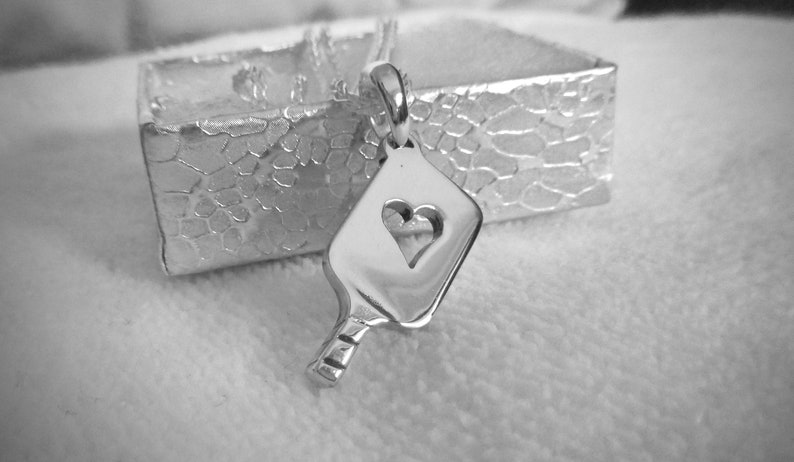 Sterling Silver Heart Pickleball Paddle pb14 image 0