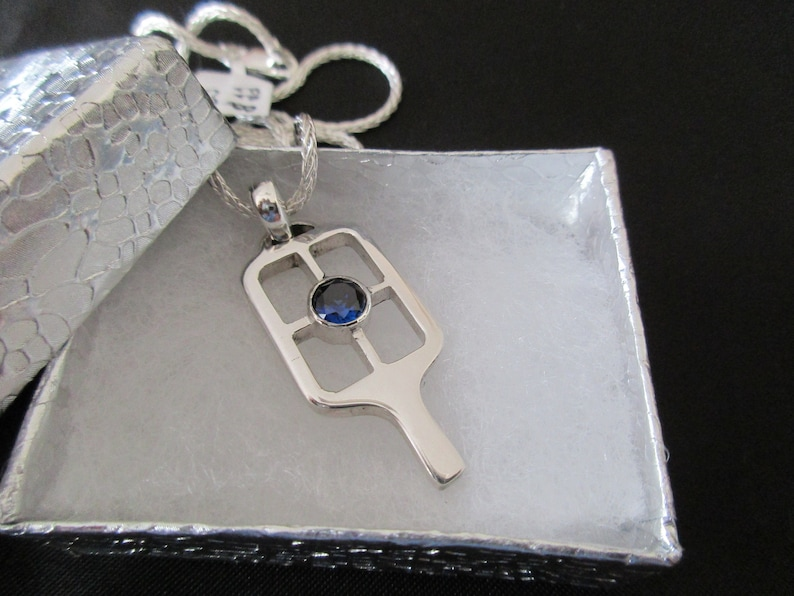 Stunning Sterling Silver Pickleball Paddle with Lab Sapphire image 0