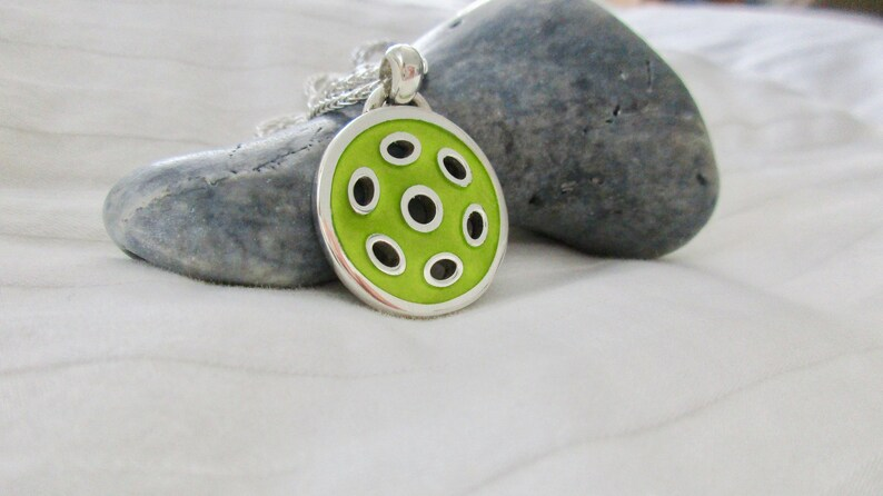 FUN Sterling Silver and Yellow Pickleball Pendant pb74 image 0
