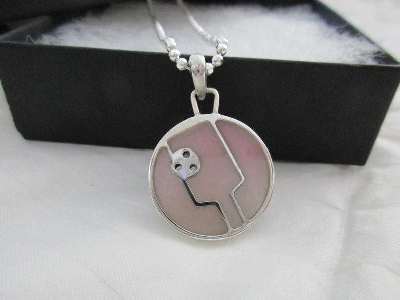 Pale Rose Pink Acrylic Filled Pickleball Paddle Pendant image 0