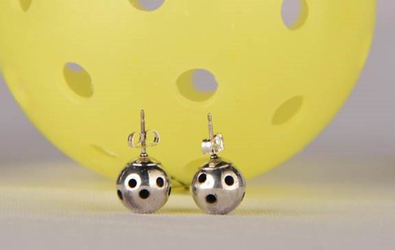 Sterling Silver Stud Picklball Earrings Pbe30 image 0