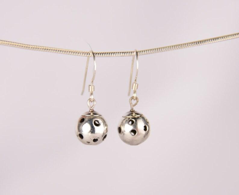 Sterling Silver Drop Pickleball Earrings Pbe26 image 0