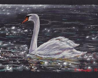 ORIGINAL Pastel painting. Swan. Lake. Bird. Original art. Nature. Water