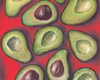 ORIGINAL Pastel on paper: Love, Peace & Avocado.  32 × 25cm