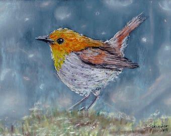 Bird n2. Original pastel painting on sandpaper . Using artists' quality pastels