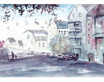 Small watercolor cityscape