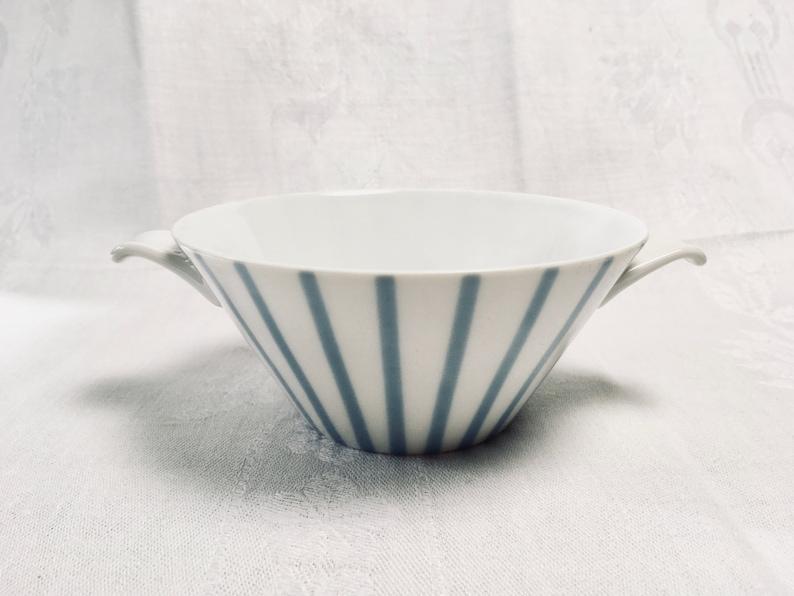 Set of 3 German Vintage Bowls Sch\u00f6nwald 50ies Midcentury L\u00f6ffelhardt Blue Stripes
