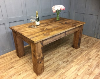 Chunky dining table etsy industrial dining table farmhouse rustic chunky industrial furniture watchthetrailerfo