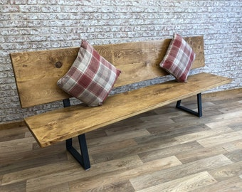 Strange Dining Bench With Back Etsy Onthecornerstone Fun Painted Chair Ideas Images Onthecornerstoneorg