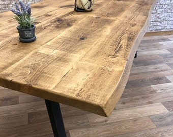 Industrial Dining Table Live Edge Steel A-Frame Dining Kitchen Table Rustic Reclaimed