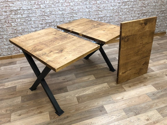 Extendable Dining Table Industrial X Frame Kitchen Extending Etsy