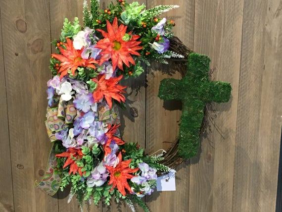 Summer Wreath-The FAITHFUL ROSE Wreath-Religious Decor-Summer Door Decor-Summer Wall Decor-Religious Wall Decor-Religious Door Decor
