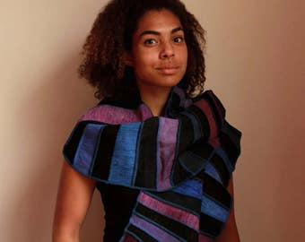 100% silk with linen scarf, black with shades of blue and purple, handdyed and handmade, hippy chic