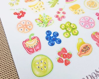 Eat Your Fruits and Veggies!  Produce Tracker - Watercolor Planner Stickers