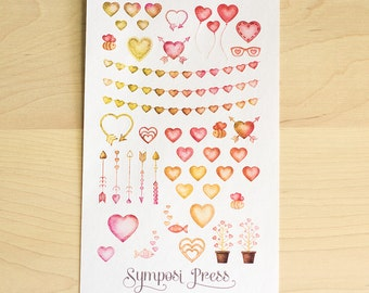 Hearts Valentines Stickers - Watercolor Planner Stickers