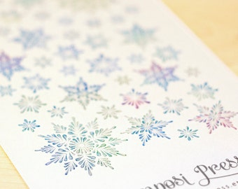 Snowflakes in Blues, Greens and Purples - Watercolor Planner Stickers