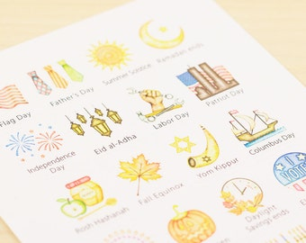 US Holidays Watercolor Planner Stickers - LARGE (Two Sheet Set)