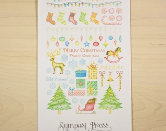 Hung by the Chimney with Care (Christmas /Holiday Stickers) - Watercolor Planner Stickers