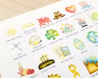 US Holidays  - Watercolor Planner Stickers - SMALL