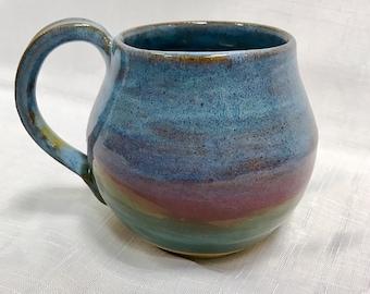 Stoneware mug - MADE TO ORDER - pottery mug - colourful mug -  handmade mug - large coffee mug - Scottish landscape design mug