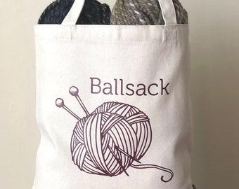 Knitting Bag, Shopping Bag, Canvas Tote Bag, Printed Tote Bag, Ballsack, Medium Canvas Tote, Yarn Bag, Knitting Bag, Funny Bag, Tote Bag