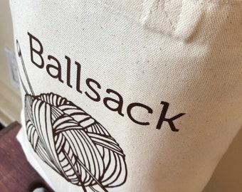 Crochet Bag, Knitting Bag, Shopping Bag, Canvas Bag, Ballsack, Medium Canvas Tote, Yarn Bag, Funny Bag, Tote Bag, Crochet Tote