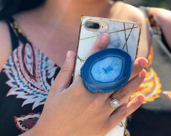 Phone Grip Cap, Agate Crystal, Agate Stone, Agate Phone Grip Cap, Gemstone Phone Grip Cap, Healing Stone, Geode Phone Grip Cap