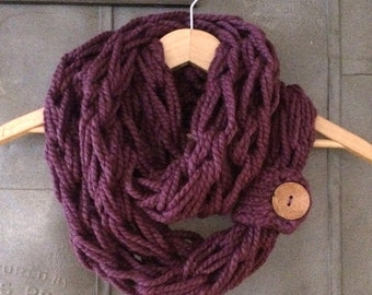Infinity Scarf, Cowl, Woman Scarf, Button Cuff, Circle Scarf, Brown Coconut Button, Arm Knit Infinity, Mulberry, Purple Scarf, Knit Scarf