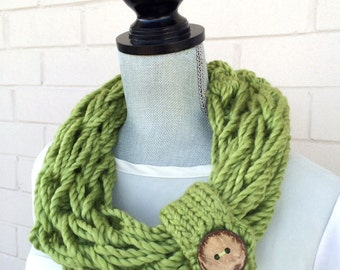 Single Wrap Scarf, Hand Knit Cowl, Infinity Scarf, Arm Knit Scarf, Women's Scarf, Spring Scarf, Green Scarf, Button Cuff, Coconut Button,