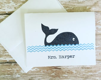 Whale PERSONALIZED Notecards, Set of 10 Notecards & Envelopes, Teacher's Gift