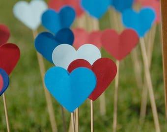 Heart Skewers, Choose Color(s), Set of 1, Set of 5, Set of 10, Set of 25, Set of 50, Set of 100