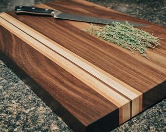 Walnut Cutting Board with Cherry and Maple stripe