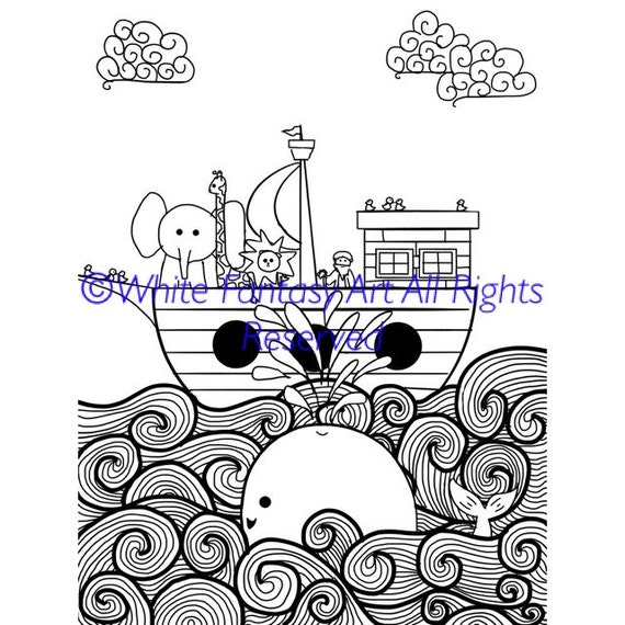 Noah\'s Ark Printable Coloring Page for Children and Adults! With Whale,  Splash, Animals and No Words! 8 1/2\