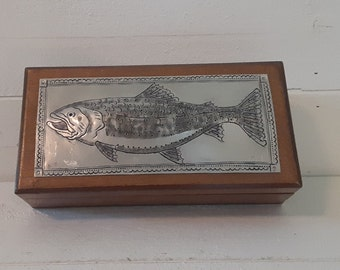 Vintage Seashell Fish Trinket Box Souvenir Kitsch Jewelry Earring Round Pill Box