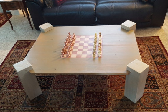 Brilliant Handmade Coffee Table With Chess Board Includes Stone Chess Set Ncnpc Chair Design For Home Ncnpcorg