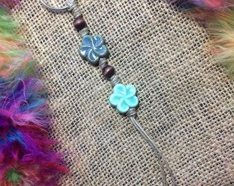 Boho Flower Keychain, flower keychain, boho keychain, beaded keychain, boho, flower, keychain, beaded, turquoise, blue, boho accessories