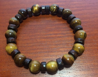 Tigers Eye and Wooden Beaded Bracelet, tigers eye bracelet, wooden bracelet, gift