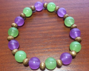 Purple, Lime Green & Wooden Beaded stretch Bracelet, purple bracelet, green bracelet, lime green bracelet, gift, wooden bracelet, spring
