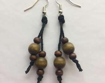 Olive Green and Wooden Beaded Hemp Dangle Earrings, olive green earrings, green earrings, wooden beaded earrings, wooden earrings, boho