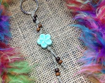 Flower Hemp Keychain, flower keychain, boho keychain, beaded keychain, boho, flower, keychain, beaded, turquoise, blue, boho accessories