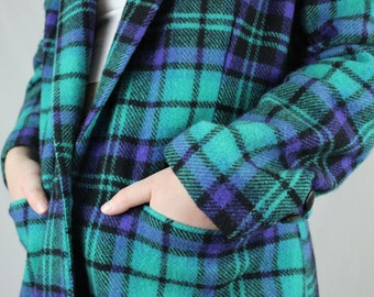 c771e6441c Vintage Plaid Blazer    80s 90s funky jacket    colorful patterned wool