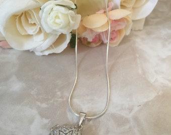 Sterling Silver Crystal Locket Necklace