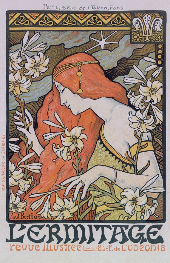 Vintage Para Imprimir Paul Berthon Modernista Poster Etsy