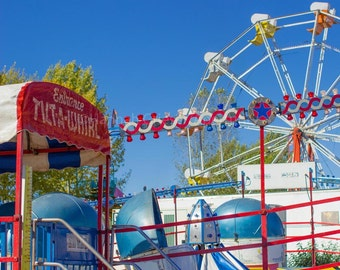 Tilt-A-Whirl and Ferris Wheel at the County Fair: Fine Art Photography