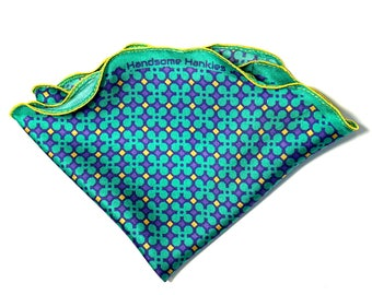 Silk Pocket Square, Pocket Round, Purple and Teal,  Wedding handkerchief, Gift for Him