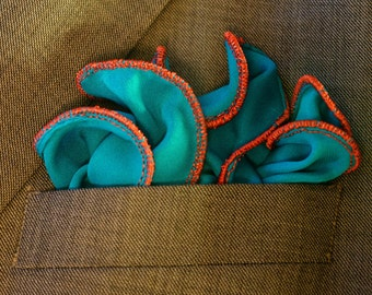 Pocket Round square, Hankie, Wedding Handkerchief, Teal and Rustic Red