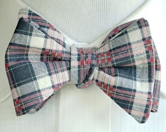 Gray Plaid Bow Tie For Men, Self Tie or Pre Tied Bowtie, Plaid Colors Pink Gray Dark Gray and White, Barnyard Wedding, Gift for Boyfriend