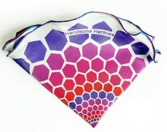 White Pocket Round Square,Hexagon Design, Purple, blue, magenta border, Handkerchief, Hankie, Gifts, Men