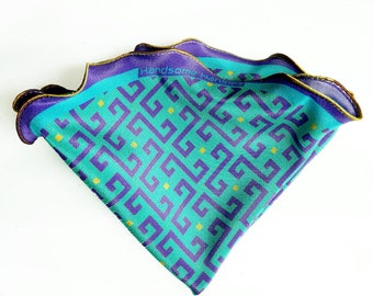 Silk Pocket Square Round, Purple and Teal, Wedding handkerchief, Gift for Him