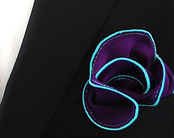 Purple Silk Pocket Square & Robin Egg Blue Border  Wedding Handkerchief  Custom Pocket Round Groomsman Hankie  Pocket Handkerchief for Man